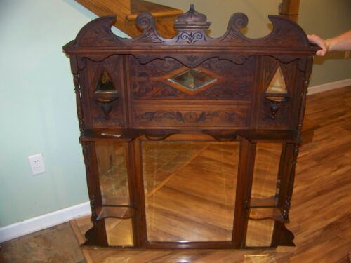 Antique Wood Top Hutch with beveled glass mirrors and intricate carvings/detail