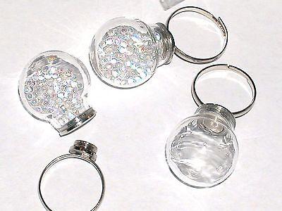 1pc. Bottle Ring fairy Locket Screw cap Globe crystal Ball Glass pixie bulb orb