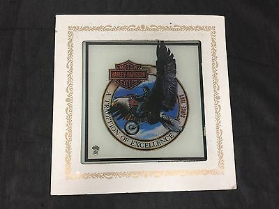 "Vintage Harley Davidson In Harley We Trust Glass Carnival Fair Prize 8"" X 8"""