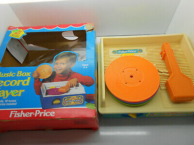 Fisher Price Music Box Record Player #2205 5 original song discs BOX 1987