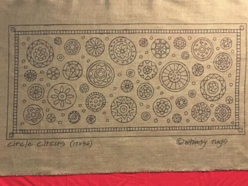 Whimsy Rugs Rug Hooking Pattern - Circle Circus - 17 x 36 on Linen