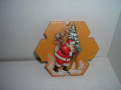 Anri Carved Wooden Holiday Eve SANTA REINDEER CHRISTMAS ORNAMENT LE