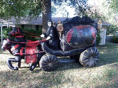 Halloween Inflatable Carriage (Rare Gemmy Halloween Inflatable Airblown 12ft Carriage Hearse with)