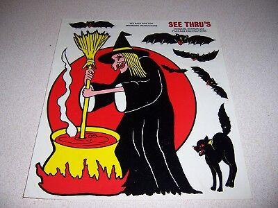 VINTAGE WITCH STIRRING CAULDRON w/BATS & BLACK CAT DECALS~~HALLOWEEN DECORATIONS - Halloween Decorations Witches Cauldron