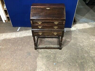 Vintage antique original bureau writing desk with drop down writing slope