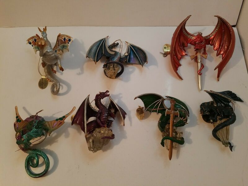 Dragon Ornaments Lot, Bradford Exchange& Ashton-Drake Galleries, 7 Dragons total