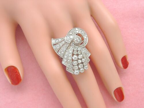 ANTIQUE ART DECO 6.55ctw DIAMOND PLATINUM COCKTAIL NECKLACE & RING SET 1930