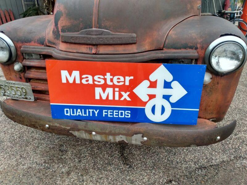 Large Vintage Original Master Mix Quality Feeds Tin Sign Feed Mill Farm Barn