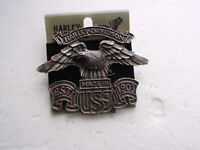 """#A205 Hat Pin 2.6/"""" x 1/"""" Biker Jacket EAGLE with SPREAD WING Pewter Vest"""