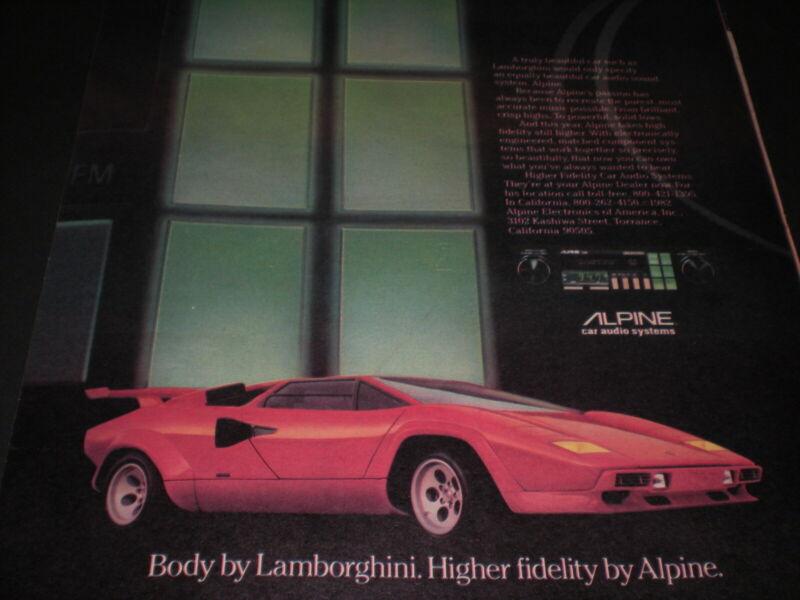 1982 RED LAMBORGHINI SPORTS CAR vintage ALPINE AUDIO SYSTEMS Trade print ad