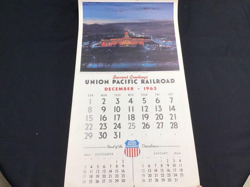 1964 Vintage Union Pacific Railroad Train Calendar Complete