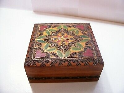 Vintage Wooden Trinket Box Vintage Made in Poland; Hinged Carved  - Hinged Wooden Box