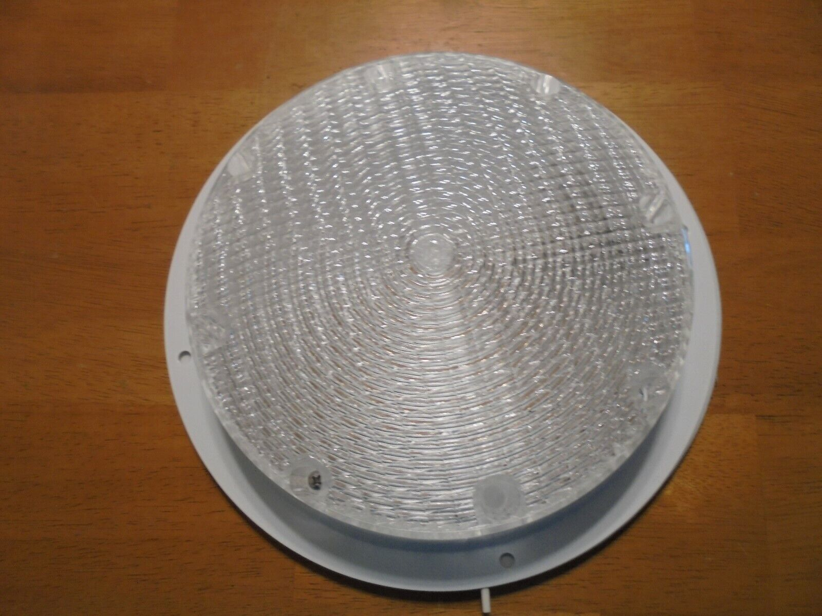 """RV ceiling light 12 volt 7"""" round light with rubber insert clear"""