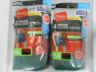 Hanes Men's Boxer Briefs 8-PACK SIZE 2XL 3XL Tagless Underwe