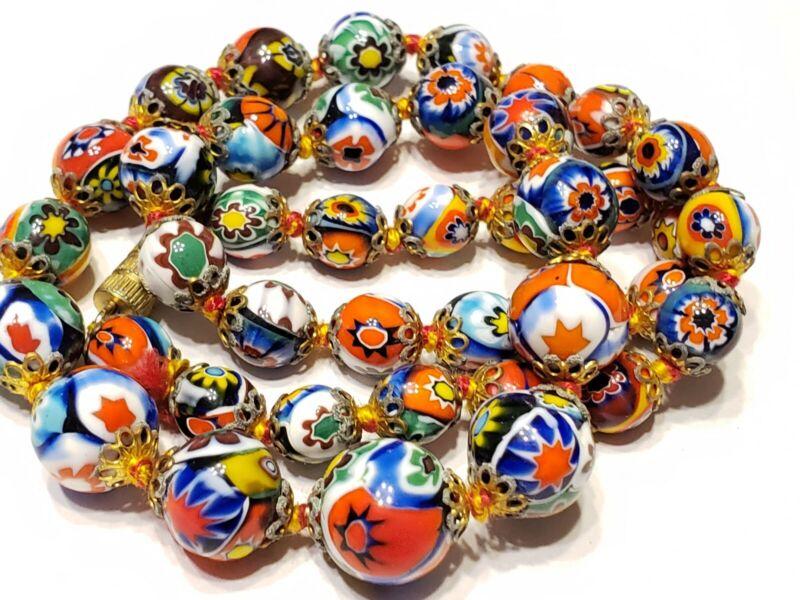 Vtg Italian Murano Millefiori Beaded Art deco Italian Necklace Bin-3