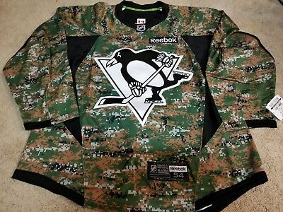 73e7cad04d6 PITTSBURGH PENGUINS Dark Digital Camo Military Player Practice Issued Jersey  56