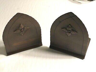 1920-30 Craftsman Studio Laguna Beach Ca. A&C Copper Bookends Hand Made Gothic