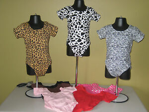 Leotard-Dance-Toddler-4T-5T-6-Animal-Print-Solids-Leopard-Hot-Pink-Cotton-Blend