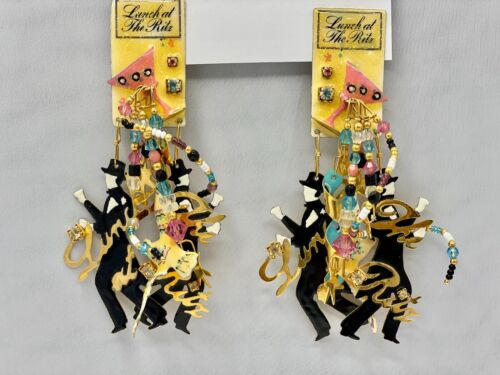Lunch At The Ritz MARTINI Enamel  Statement Clip Earrings 1989 RARE!!!