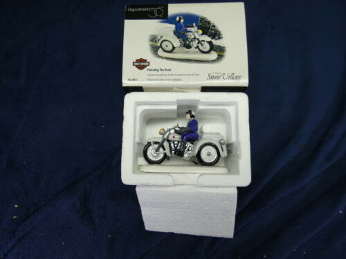 """Dept 56 Harley Davidson """"Patrolling the Road """" Snow Village #56-54971  Preowned"""