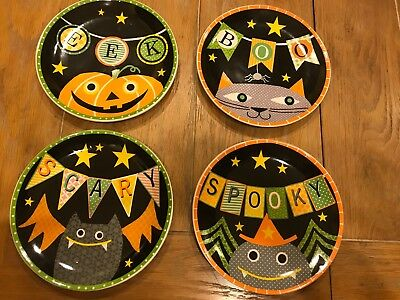 Halloween seasonal ceramic plates cat spider pumpkin bat Transpac Imports (Halloween Plates Ceramic)