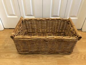 Large Vintage IKEA Wicker and Bamboo Basket