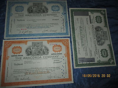 256 : Histor. Wertpapier / Aktie  USA , THE  ANACONDA  COMPANY  ,  3 Stück