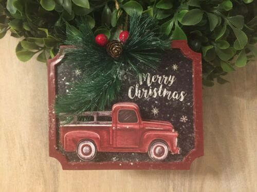 New Farmhouse VINTAGE RED TRUCK TREE MERRY CHRISTMAS Hanging Ornament Sign 5""