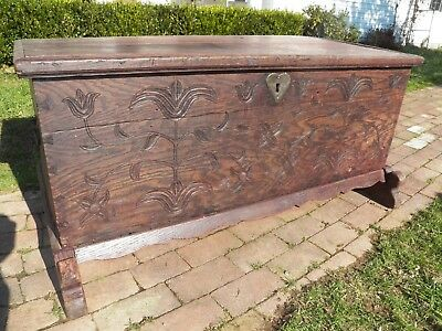 Used, 1600's Antique Oak chest Carved trunk blanket box rustic primitive for sale  North East
