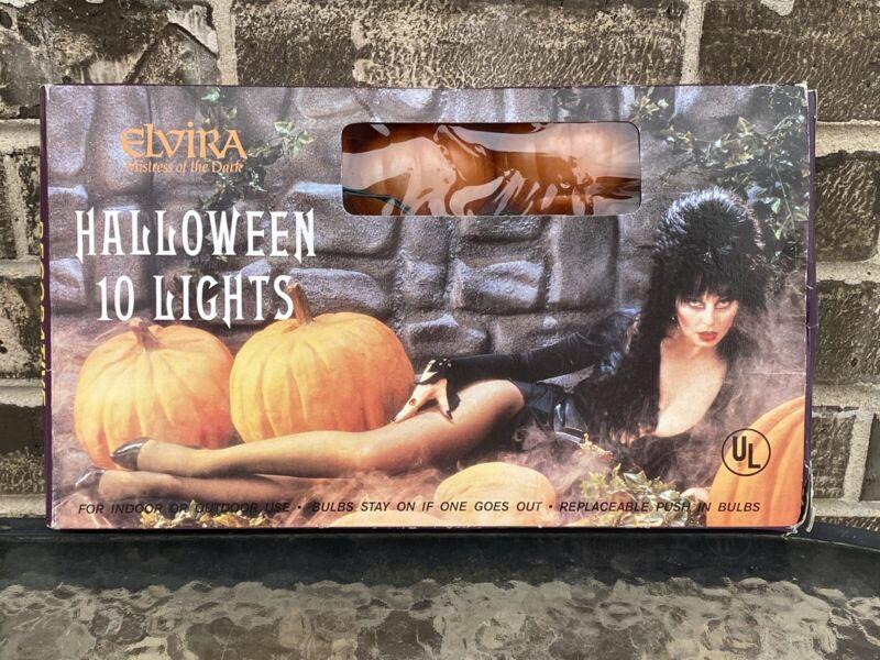 ELVIRA Mistress of the Dark Halloween 10 Lights Pumpkin Set In Box