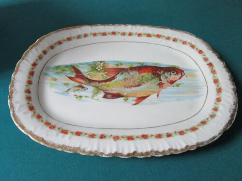 "ANTIQUE CERAMIC FISH TRANSFERWARE TRAY 16 X 12"" [*77F]"