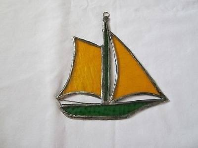 """Vintage stain glass suncatcher sail boat 6"""" X 6 1/2"""" hand made 60,s or 70's"""