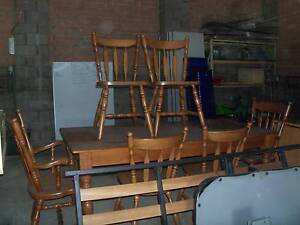 Dining table solid timber 6 chairs cutlery draw Wallsend Newcastle Area Preview