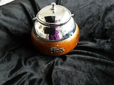 Vintage tea caddy wood with  liner chrome handle kitchenalia
