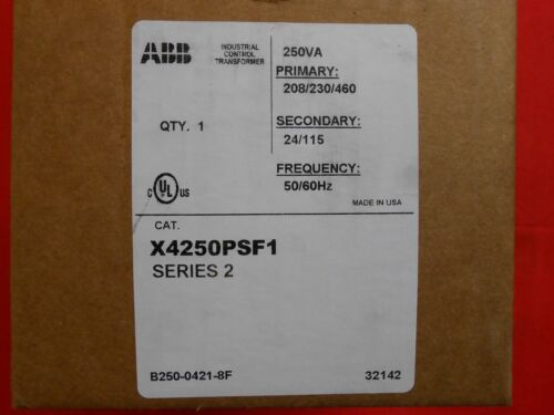 ABB  X4250PSF1  250A CONTROL TRANSFORMER 480/230/208 pri 120/24 Secondary-NEW
