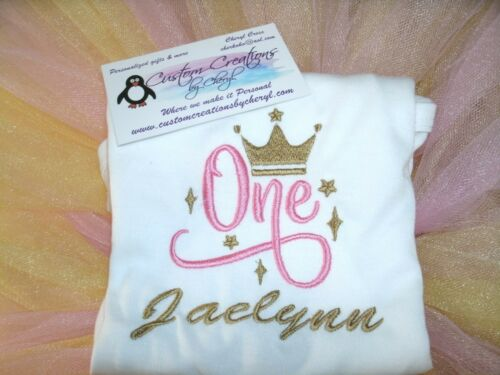 1st Birthday Princess Crown Cursive Personalized Shirt ANY NAME & COLOR SCHEME