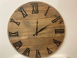 """Ethan Allen Wood  Wall Clock Rustic Rare 26"""""""
