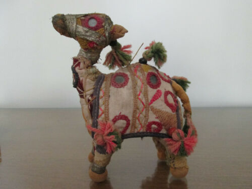Folk Art Cloth Mirrored Camel - Embroidered and Hand Stitched. Made in India.