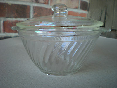 Clear Depression Glass Swirl Bowl with Handles and Lid Depression Swirl