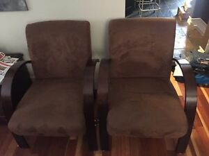 2 Brown suede chairs