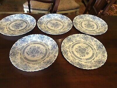 Arcopal France Blue Honorine Scalloped Edge Dinner Plates Set Of Five