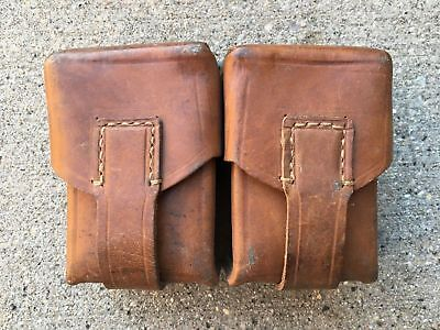 Yugoslavian 8mm Mauser M24 M48 Yugo Leather Belt Ammo Pouch. Dual Cell. Rugged