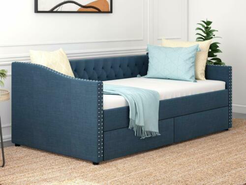 Twin Size Diamond Tufted Sofa Bed Linen Daybed w/ 2 Large Storage Drawers Blue