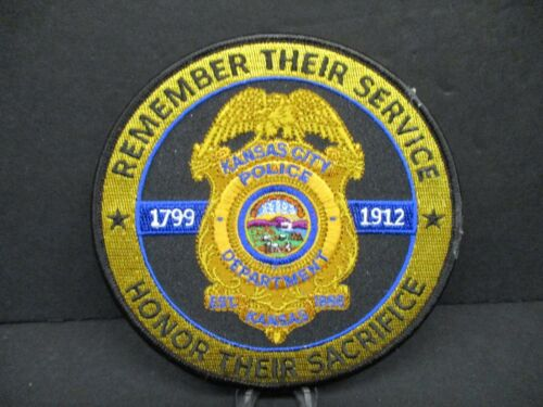 KANSAS CITY, KS POLICE DEPARTMENT MEMORIAL PATCH, LARGE, 100% EMBROIDERY