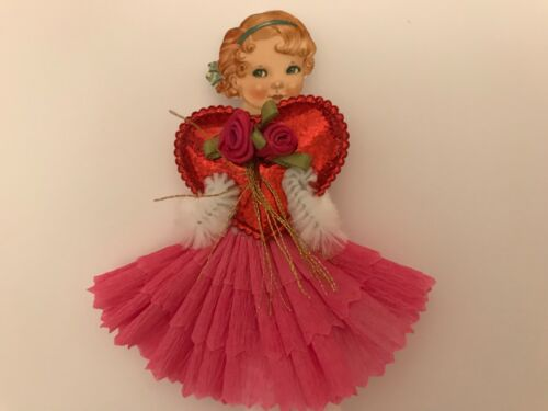 Paper doll Valentine's Day, ornaments and  Chenille feather tree, item# 10