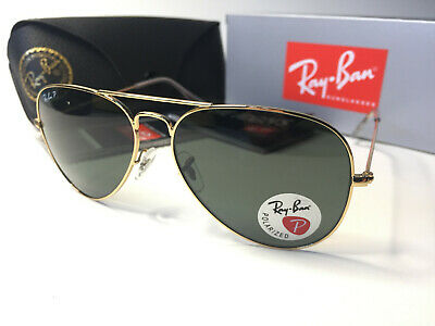 Ray-Ban 3026 Classic Gold Frame Polarized Aviator Sunglasses Large  (Ray Ban Aviator Classic Polarized Sunglasses)
