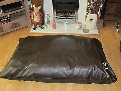 EXTRA LARGE WATER RESISTANT BROWN FAUX LEATHER XL DOG BED PET BED DOGBED PETBED