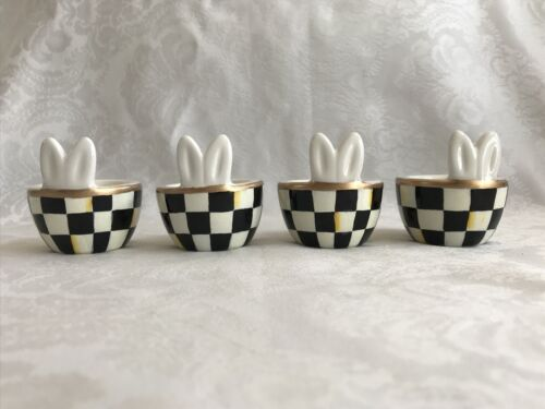 Mackenzie Childs Courtly Check WP Magnet+Hand Painted Bunny Egg Cups (Set of 4)