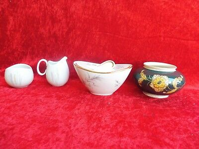 4 Beautiful, Antique Porcelain Parts ___ Covered Dish, Vase __ Al-Ka ,Thomas,