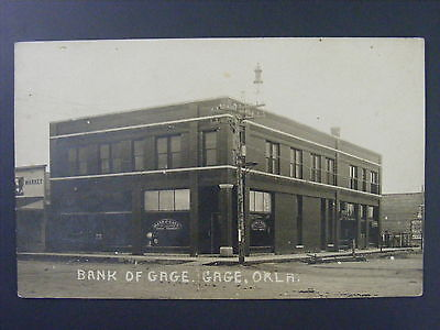 Gage Oklahoma OK Bank Building Safe in Window Real Photo Postcard RPPC c1910 (Build In Safe)